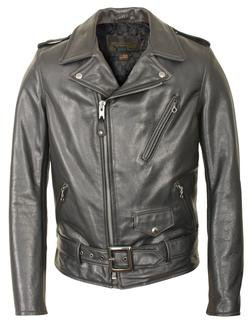 519 - Waxy Natural Black Cowhide 50's Perfecto Motorcycle Leather Jacket (Black)