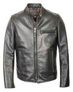 530 - Waxed Black Natural Pebbled Cowhide Café Leather Jacket