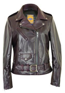 "536W - Women's 23"" Lightweight Waxy Natural Grain Cowhide Perfecto Asymmetrical Leather Jacket (Wine)"