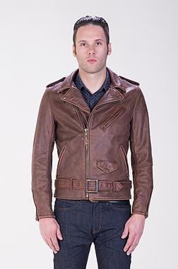 Cowhide Leather Motorcycle Jacket (Front)