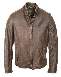 654VN - Vintaged Cowhide Café Racer Leather Jacket (Brown)