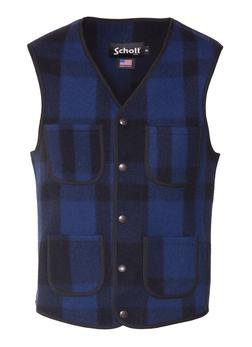 745V - MEN'S WOOL PLAID VEST (Red)