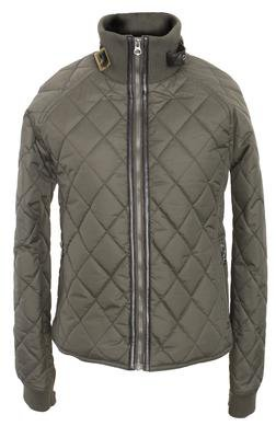 """9423W - 21"""" Coated Nylon Diamond Quilted Fitted Jacket (Olive)"""