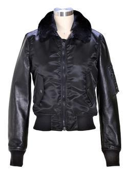 9515W - Women's nylon and  lambskin MA-1 flight  jacket (Black)