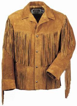 Western Fringe Leather Jacket - Tobacco