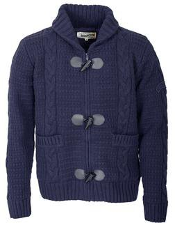 "F1328 - 26"" Wool/Acrylic Blend Cable Knit Sweater (Navy)"