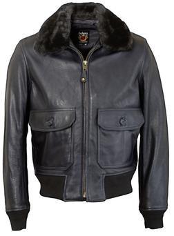 FLT6 - Naked Cowhide G-1 Leather Flight Jacket (Dark Navy)