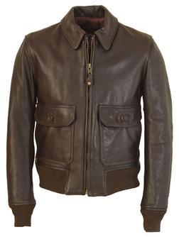 FLT7 - G–1 Flight Jacket in Naked Pebbled Cowhide Leather (Brown)