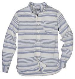 SH1323 - Lightweight Fine Weave Cotton Gauze Horizontal Striped Shirt (Blue)