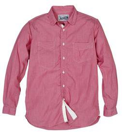 SH1327 - Fine Weave Ticking Stripe Cotton Shirt (Red) (Red)