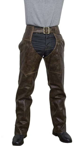 551 - Brown Antique Cowhide Leather Motorcycle Chaps