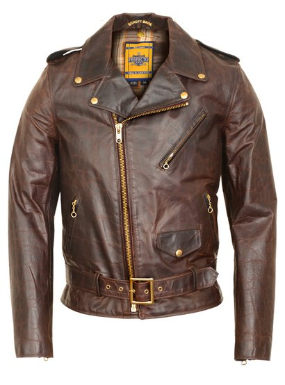 619 - Hand Oiled Lightweight Naked Brown Perfecto Motorcycle Jacket with Plaid Cotton Lining
