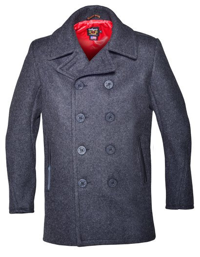 740C - Classic Wool Naval Pea Coat with Leather Trim (Slim Fit)