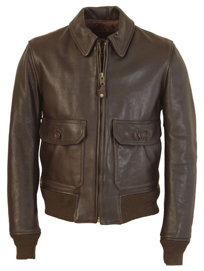 FLT7 - G–1 Flight Jacket in Naked Pebbled Cowhide Leather (Brown)