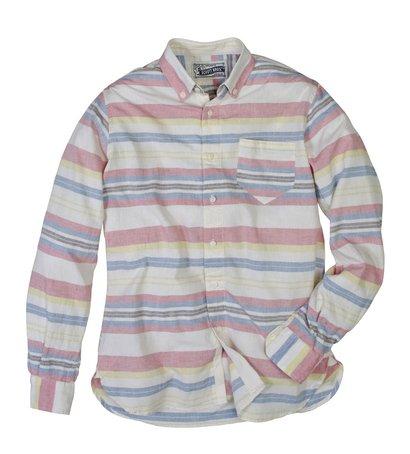 SH1323 - Lightweight Fine Weave Cotton Gauze Horizontal Striped Shirt